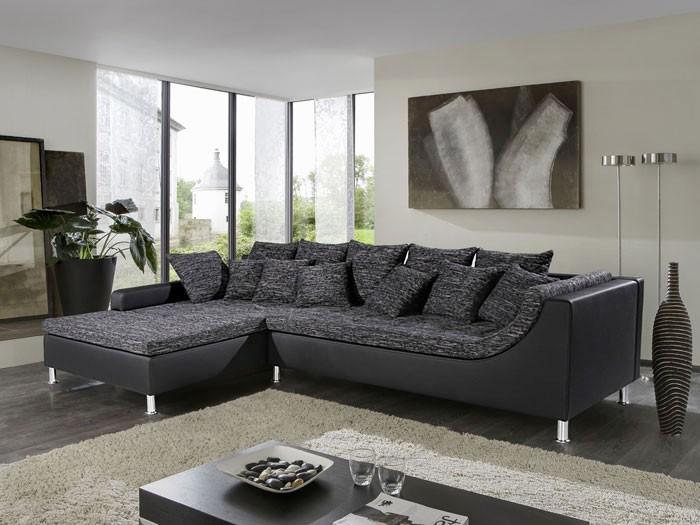eckcouch madeleine, 326x213cm, webstoff schwarz-grau kunstl ... - Wohnzimmer Couch Schwarz
